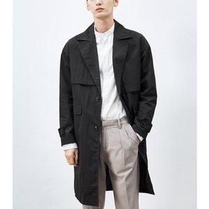 Novos 2019 homens casaco primavera outono do algodão tench entalhado colarinho único casacos longos seios