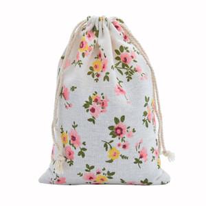 Sac en coton lin 50pcs 10x14cm Muslin Cosmétique Cadeaux Bijoux Sacs d'emballage mignon Sac à cordonnet cadeau Pouches