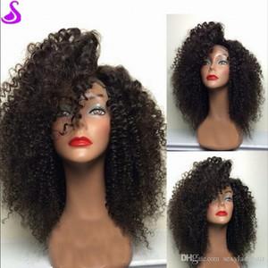 150% dichte kurze bob stil afro kinky curly simulation menschliche haarperücke 13x4 brasilianische spitze front synthetische Perücken für schwarze Frauen