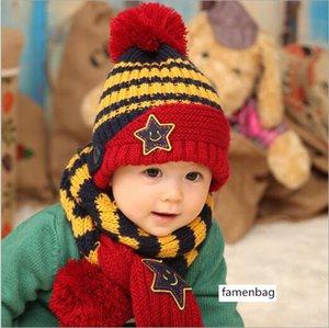 2015 kış bebek beş köşeli yıldız gülen yüz kap bebek yün Cap atkı sıcak şapka 8502
