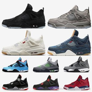 KW Preto Grey 4s sapatos Mens Basketball Travis Scott Raptors 4 sapato Bred 2019 Neon Fiba Retro Tattoo malha Mens treinadores desportivos Sneakers