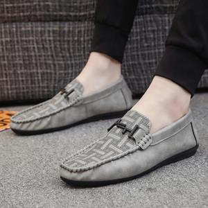 Vente de-New Style Hot Men Stripes Bean Chaussures souple Leathe Lazy Chaussures Chaussures à la mode des Chaussures hommes