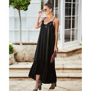 المرأة الصيف desinger الصلبة اللون فساتين ماكسي الخامس الرقبة أكمام طول الركبة الإناث الملابس أزياء عارضة الملابس