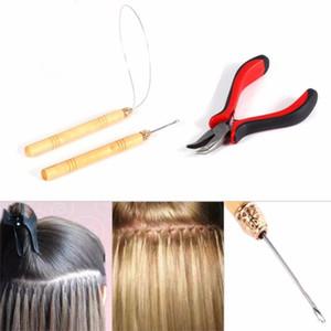 3 en 1 Kits de herramientas de extensión de pelo de plumas Alicates Agujas de gancho de bucle para extensiones de micro anillas