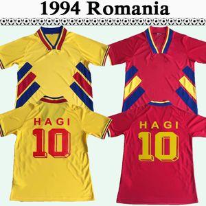 1994 Hagi Raducioiu Popescu Romania Mens Retro Soccer Jerseys Romania National Team Home Giallo Away Red Football Camicia manica corta