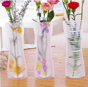 Vase à fleur en plastique réutilisable pliable incassable créatif se pliant magique vase en PVC 11.7cm * 27cm Mix Color Home Decor