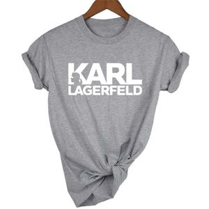 Diseñador Manera- Impreso para mujer camisetas Lagerfeld O-cuello de manga corta para mujer Tops señoras verano RIP camisetas casuales