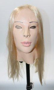 Hot Fetish silicone di alta qualità Mask Bondage Gomma maschera donna Realistico Halloween Party vestito in lattice Veste Mask Fancy dress up