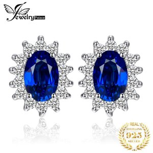 Jewelrypalace Prinzessin Diana William Kate Middleton 1,5 ct Erstellt Blue Sapphire Ohrstecker Reine 925 Sterling Silber Schmuck T190703