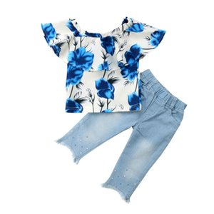 1-5Y طفل الاطفال طفلة ملابس الصيف الكشكشة الزهور بلايز تي شيرت سروال جينز بنطلون جينز 2PCS بنات وتتسابق مجموعة