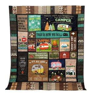 Acampamento Blanket Quilt Carta Pet 3D Imprimir Cobertores Outdoor Viajando piqueniques na praia Tent Mat Pad Camping Toalha 10styles GGA2814