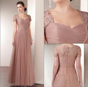 2019 Mother of the Bride Dresses for Weddings Lace Short Sleeves Zipper Back Prom Dresses Long Tulle A Line Party Gowns
