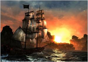 Sea Pirate Ship Sunset Grande affiche Home Décor peint à la main huile d'impression HD Peinture Sur Toile Wall Art Toile Photos 200204