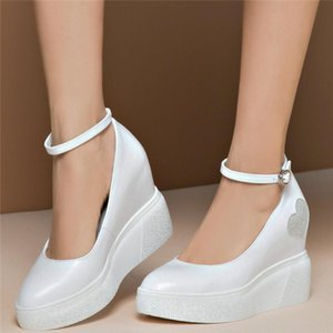 Ankle Strap Mary Janes Women Cow Leather Wedges High Heel Ankle Boots Female Pointed Toe Platform Pumps Shoes Fashion Sneakers