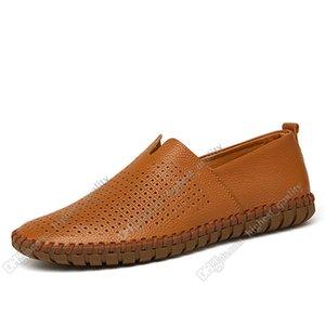 La nueva manera caliente 38-50 Eur nuevos zapatos de los hombres de los hombres de cuero colores caramelo chanclos zapatos casuales británicas el envío libre de Alpargatas Treinta