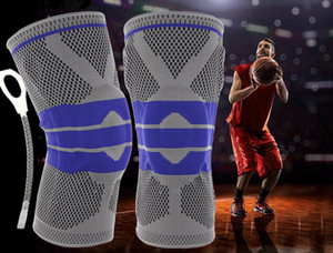 Basketball running knee pads fitness outdoor hiking riding knit breathable protective gear silicone anti-collision sports knee pads