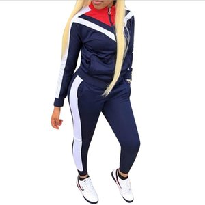 Full Sleeve Patchwork Sexy Autumn Winter Tracksuit Women Set Outfit Fashion Two Pieces Suits Casual Overalls Black Red Jumpsuits S-3XL
