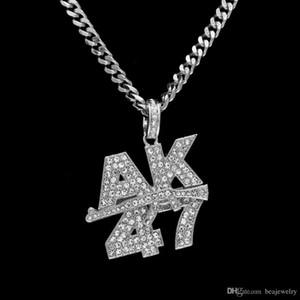 Men Fashion AK47 letters Submachine Gun Pendant Necklace European Hip Hop Jewelry Gold Plated Bling Rhinestone Necklaces
