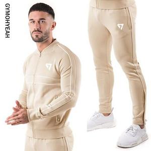 GYMOHYEAH marka marka spor takım elbise erkek Suit Erkekler Kapüşonlular Erkek Spor Salonları Spor Jogger Suit Erkek Eşofman Takımları