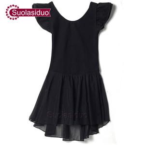 Girls Black Dancing Dresses Costumes Children Ballet Leotards Practise Clothing Kids Ballet Performance Dancewear Dancing Skirt