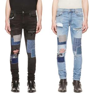 ممزق Fashion- مصمم رجالي جينز فاخرة جينز الرجال النساء المتعثرة سحاب سروال جينز رجالي مصمم السراويل حجم 29-42