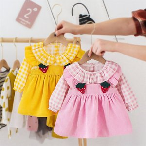 Autumn Dresses For Baby Girls Casual Long Sleeve Infant Party Dress Strawberry Plaid Kids Dress Newborn Birthday