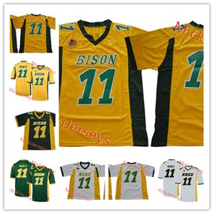 Hommes NCAA North Dakota State Bison Carson Wentz Jersey Cousu # 11 Carson Wentz North Dakota State College Football chandails S-3XL