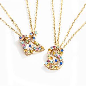 Gioielli iniziale Nome Lettera pendente Donna Strass inglese alfabeti Girocollo Collana di colore dell'oro nuovo modo di disegno regalo per la ragazza