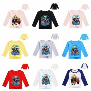 Primavera de dibujos animados Fireman Sam Imprimir Niños bebés de manga larga T camisas de los niños ropa de los niños camiseta de la muchacha del algodón Tops fd45 Tee vestuario