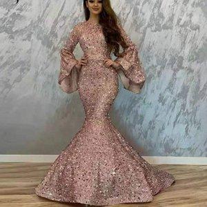 2020 elegante vestidos de baile con cuentas lentejuelas sirena vestido de noche de manga larga formal reflectante vestidos por encargo