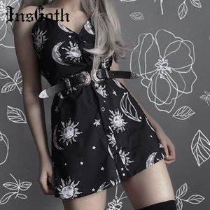 InsGoth Женщины Черное мини-платье Gothic Punk Sun Moon Printed Elegent вскользь Свободные бретельках Aesic Урожай женщина платье