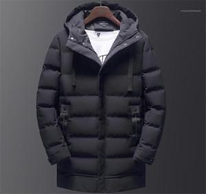 Şapka Moda Erkek Dış Giyim Kış Kapşonlu Katı Renk Mens Aşağı Nedensel Kalın Boys ceketler Mens Orta Uzun Parkas ile