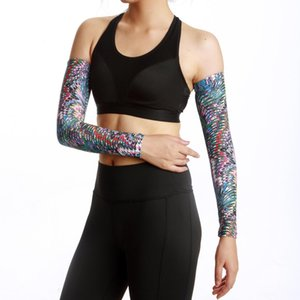 Outdoor sun protection peacock print sports cool sleeve cycling tattoo arm protector elbow protector sleeve(M-XXL)