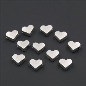 Perlen 100PCS Silber Farbe / gold Herz European Small Loch Spacer Perlen für Diy handgemachte Charme Armbänder Zubehör