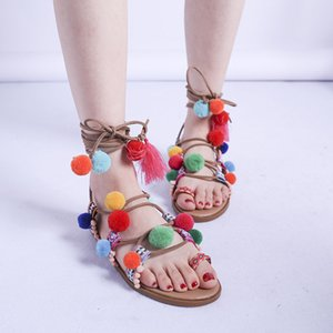 Big Size 41, 42, 43 Colorful Fashion Women Flat Sandals Flowers Gladiator Fashion Women Summer Sandals Ladies Flat Sandals