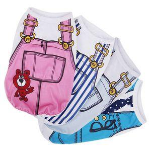 Мультфильм Pet одежда для собак лето хлопок щенок футболка одежда для маленьких собак французский бульдог рубашка жилет Костюм кошки подтяжки брюки пальто