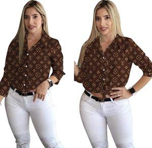 Yüksek Kaliteli Kadın Yaka Etek Uzun Kollu Baskılı Harf İnce Gömlek Kadınlar Casual Gömlek Şık Moda Etek Giyim Sıcak
