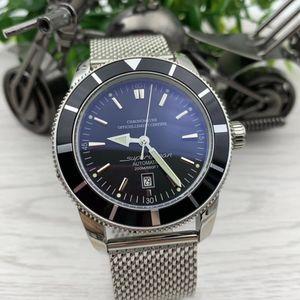 Super et Ocean Series Date Montres Hommes 47MM Grand cadran noir Calibre 20 Index Montre automatique en acier inoxydable Mesh Bracelet Montres-bracelets
