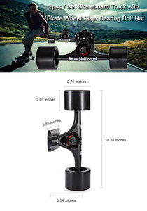 PUENTE 2pcs / Set 스케이트 보드 트럭 (4 개의 스케이트 보드 휠 라이저 패드 포함) ABEC - 9 베어링 볼트 너트 (Mini Cruiser Longboard)