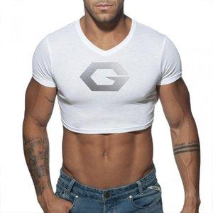 Erkek Seksi Crop Top Slim Fit Tank Kırpılmış Muscle Vest Kısa Kollu Tee Pamuk Egzersiz Gym Fitness Spor Vücut Geliştirme Tişörtlü