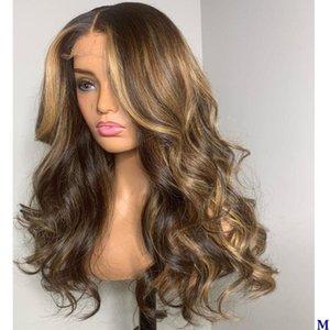 Peruanische Wellenförmige Silk oberste volle Spitze-Perücken für schwarze Frauen 150Density Highlight Blonde Transparent Lace Front Menschenhaar-Perücken Remy