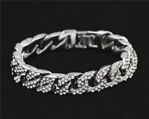14mm Mens Bracelet for Women Hiphop Jewelry Iced Out Curb Cuban Chain Yellow Gold Filled Paved Rhinestones