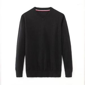 Пуловер V Образным Вырезом Мужские Свитера Повседневная С Длинным Рукавом Мужская Одежда Сплошной Цвет Мужские Дизайнерские Свитера Мода Свободные