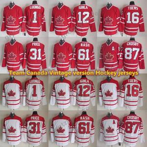 Équipe Canada jerseys version vintage 87 CROSBY 16 TOEWS 31 PRIX 61 NASH 12 IGINLA 1 LUONGO CCM jersey de hockey