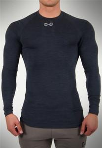 2 colores hombre de las camisetas del músculo aptitud camisa de la camiseta de los hombres elásticos Medias transpirable de manga larga de cuello redondo carrera de entrenamiento del desgaste Base