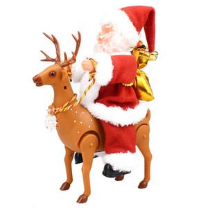 Забавный Рождество прекрасный подарок Climbing дымоходов Санта-Клаус с музыкой рождественские украшения Present Домашнее украшение