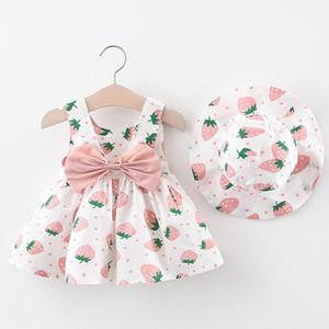 Enfants Designer Vêtements pour les filles Vêtements pour enfants 2 enfants Robe Summer Infant Imprimé Fraise Gilet sans manches Sweet Dress Coton mignon Pr