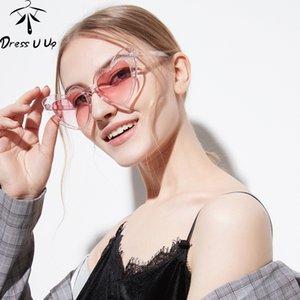 DRESSUUP Glitter Frame Cat Eye Sunglasses Women Brand Designer Vintage Gradient Pink Sun Glasses Heart-shape For Female