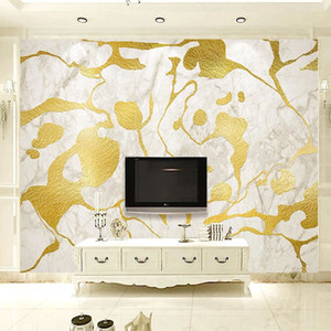 PVC Self-Adhesive Waterproof Wallpaper 3D White Marble Golden Line Murals Living Room TV Sofa Home Decor Wall Stickers 3D