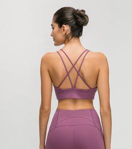 LU-25 Fitness'i Koşu 2020 yeni Kadınlar Spor çıplak duygu Bra Yoga Egzersiz Gym Yelek Seksi Backless Bra Seksi Lady İç Çamaşırı Tops